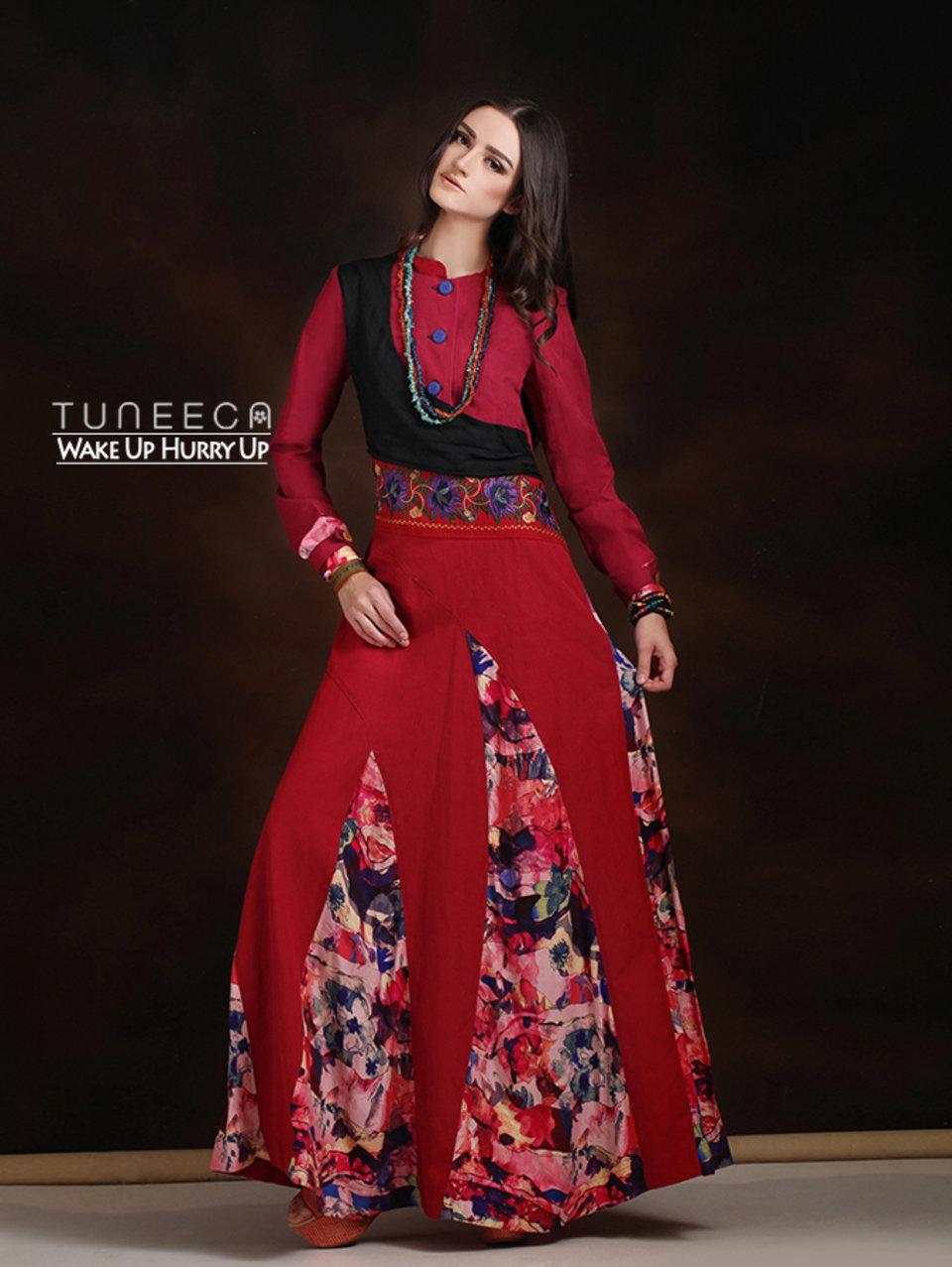 14 Long dress muslim merah bohemian