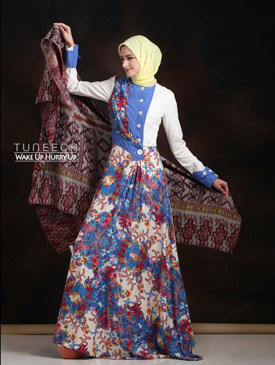16 Long dress muslim pesta biru