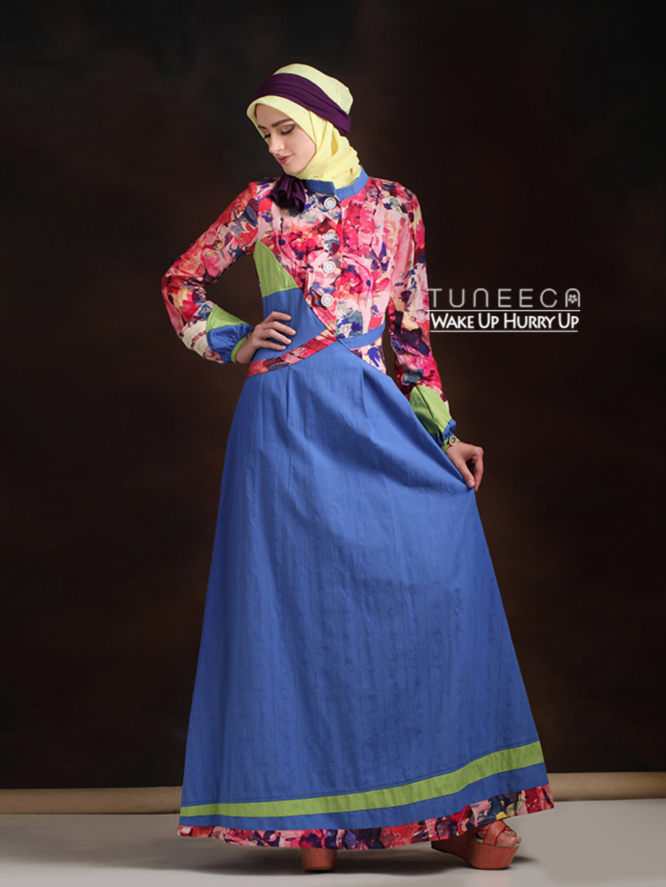 35 Gamis muslim warna biru pink
