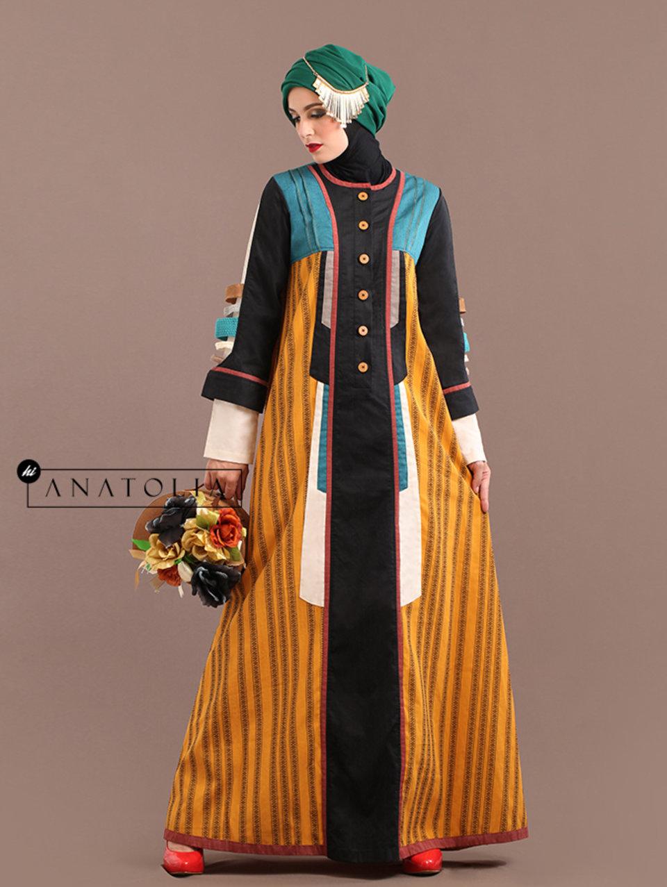 93 Abaya Modern Kuning Motif