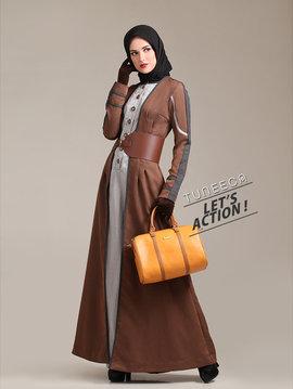 long coat dress muslim brown - depan