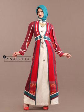 07 Abaya Jubah Tenun Merah