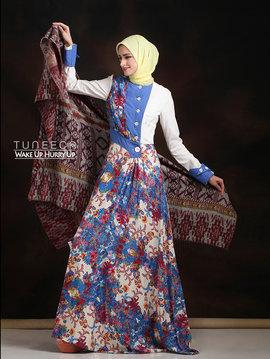 16 Long dress muslim pesta biru