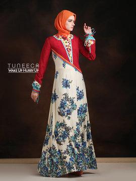 29 Baju muslim motif bunga