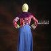 35 Gamis muslim warna biru pink - belakang
