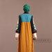 93 Abaya Modern Kuning Motif - belakang